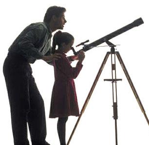 dad-school-age-daughter-telescope-silhouette